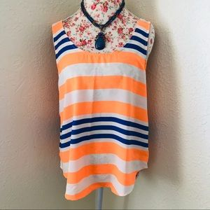 Sweet Claire Orange and Blue Striped Tank